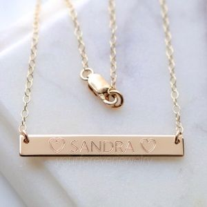 Jewelry - 14K Gold Filled Engraved Custom Name Bar Necklace